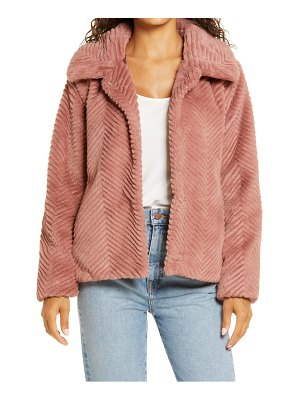 Halogen halogen chevron faux fur coat