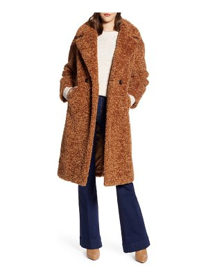 Halogen halogen double breasted faux fur teddy coat