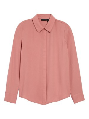 Halogen halogen hidden button long sleeve blouse