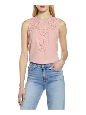 Halogen halogen lace & crepe top