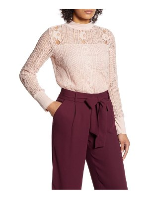 Halogen halogen lace mock neck top