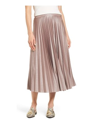 Halogen halogen metallic pleat midi skirt