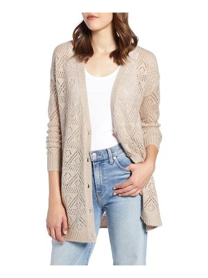 Halogen halogen metallic pointelle cardigan