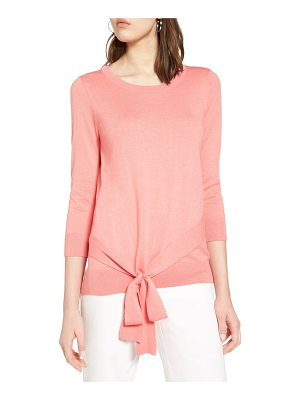 HALOGEN Halogen Pima Cotton Blend Tie Sweater