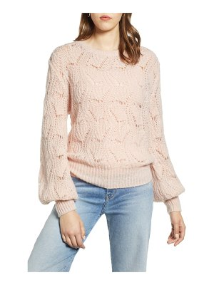 Halogen halogen pointelle balloon sleeve sweater