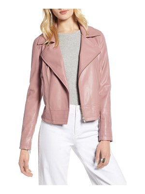 Halogen halogen quilted faux leather moto jacket