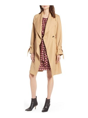 Halogen halogen tie sleeve trench coat