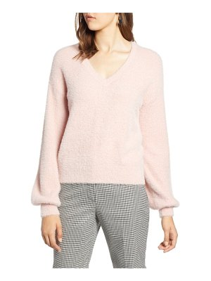 Halogen halogen fuzzy v-neck sweater