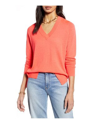 Halogen halogen v-neck merino wool blend sweater