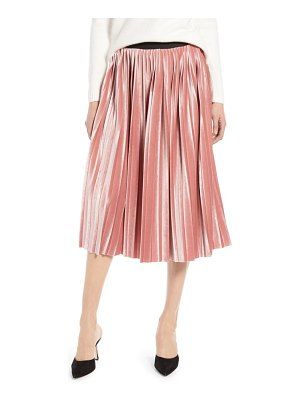Halogen halogen velvet pleated midi skirt