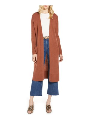 Halogen halogen wool & cashmere long cardigan