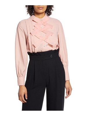 Halogen halogen x atlantic-pacific bow front pleated blouse