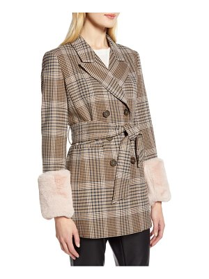 Halogen halogen x atlantic-pacific faux fur cuff plaid coat