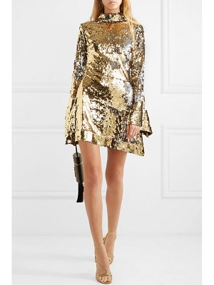 HALPERN sequined tulle turtleneck mini dress