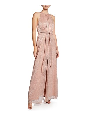 Halston High-Neck Sleeveless Metallic Knit Gown with Strappy-Back