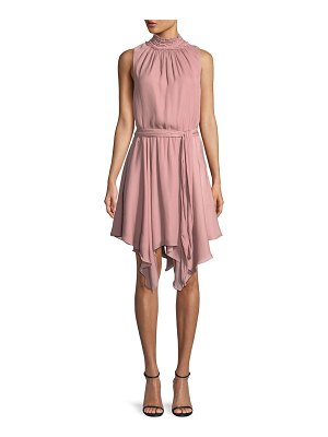 Halston High-Neck Smocked Ruffle Mini Dress
