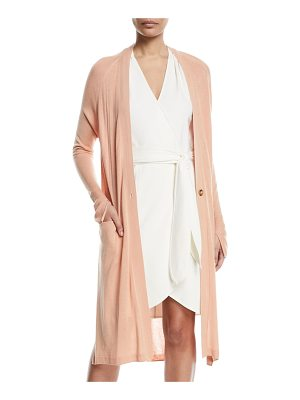 HALSTON One-Button Duster Cardigan
