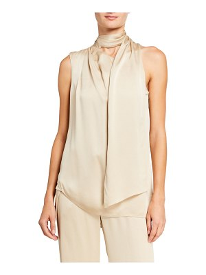 Halston Scarf Neck Sleeveless Satin Top