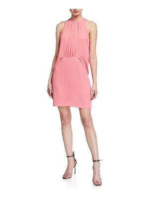 Halston Shirred Front Sleeveless Georgette Dress