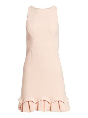 Halston sleeveless crepe ruffle hem dress