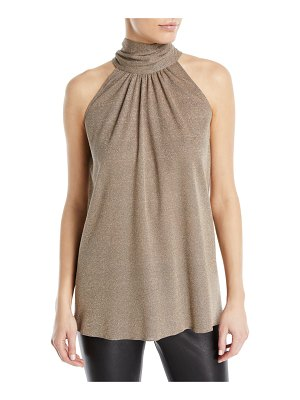 Halston Sleeveless Draped Metallic Blouse