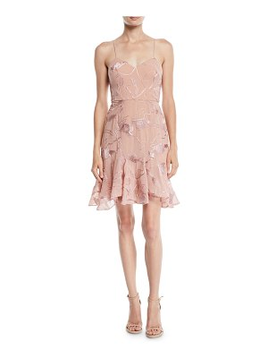 Halston Sleeveless Embroidered Soutache Dress