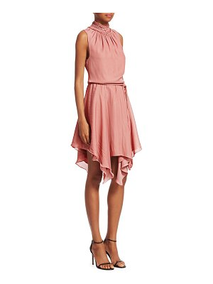 Halston sleeveless smocked mockneck dress