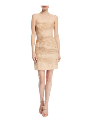 HALSTON Strapless Metallic Layered Mini Dress