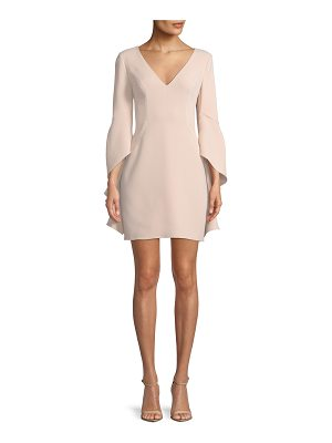 HALSTON V-Neck Flounce-Sleeve Mini Cocktail Dress