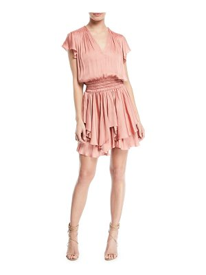 Halston V-Neck Ruched-Waist Flounce Mini Dress