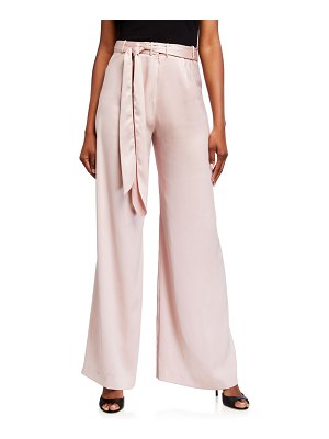 Halston Wide-Leg Satin Pants