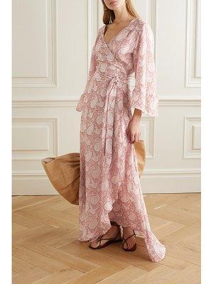 Hannah Artwear luna ruffled paisley-print silk crepe de chine wrap dress