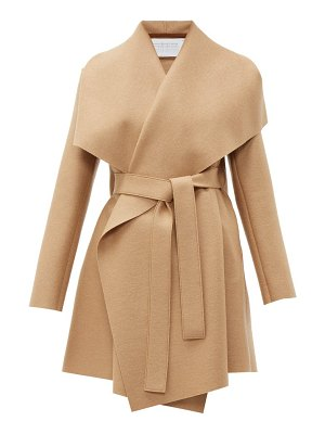 Harris Wharf London draped collar pressed wool blanket coat
