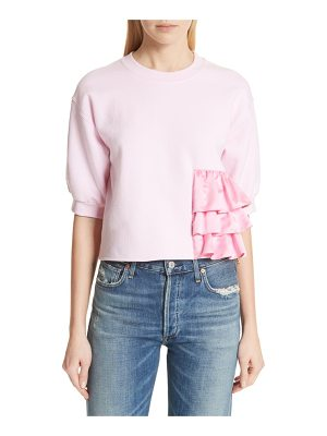 Harvey Faircloth ruffle detail crop sweatshirt