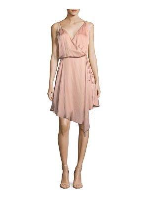 Haute Hippie Bullion Drapey Wrap-Front Satin Dress