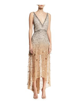 HAUTE HIPPIE Criminal Love Embellished V-Neck Gown