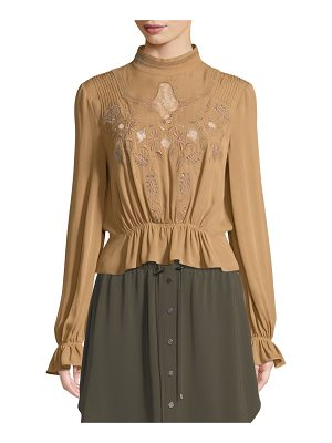 HAUTE HIPPIE Della Rose Button-Back Embroidered Silk Blouse