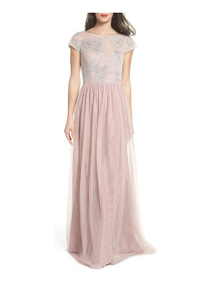 Hayley Paige Occasions embroidered bodice net gown