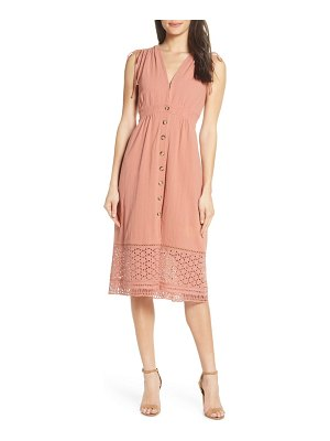 Heartloom button down a-line dress with eyelet lace hem
