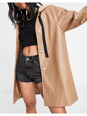 Helene Berman short hooded pleather swing trench in taupe-brown