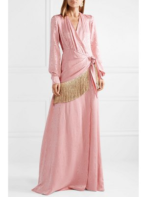 Hellessy emerson fringe-trimmed moire wrap maxi dress
