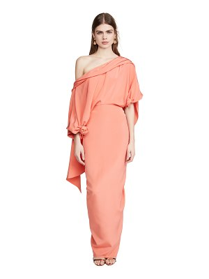 Hellessy jade silk crepe satin gown