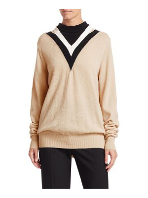 Helmut Lang chevron colorblock mockneck sweater
