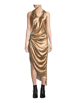 Helmut Lang Gathered Metallic Viscose Cocktail Dress with Fringe