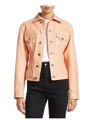 Helmut Lang under construction femme leather trucker jacket