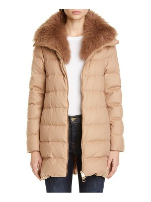HERNO hilo genuine fox fur collar silk & cashmere a-line coat