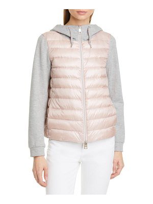 HERNO metallic stripe fleece & quilted down jacket