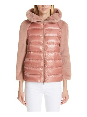 HERNO quilted down nylon & faux fur puffer jacket
