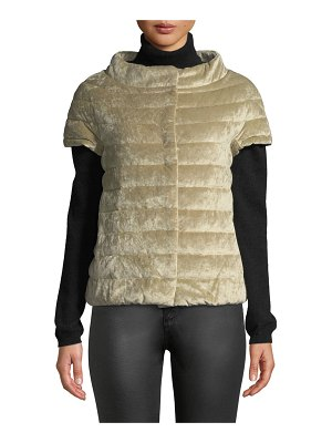 HERNO Quilted Velvet Cap-Sleeve Poncho-Style Puffer Jacket