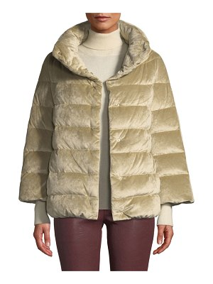HERNO Velvet Down-Filled Puffer Cocoon Coat